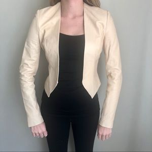 MAX AZRIA Cream Neutral Open Leather Jacket XXS